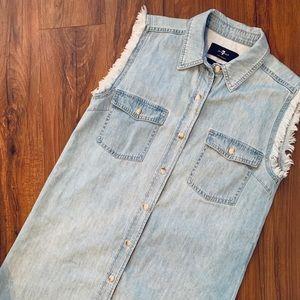 7 For All Mankind Cut-Off Denim Dress